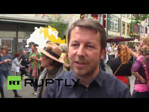 Switzerland: Basic income supporters hold party in Basel after referendum loss
