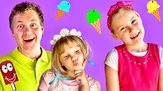 Zoja prodaje SLADOLED. Princeza Asja bira sladoled.  Sladoledi i sestre Zoja i Asja.