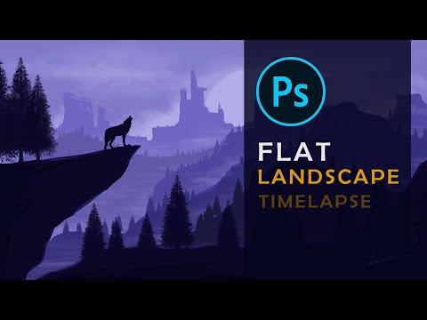 How to draw flat landscape in Photoshop | Digital Art | 2D Landscape | Time-lapse