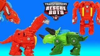 Transformers Rescue Bots Heatwave & Boulder Rescue Dinobots Save Optimus Prime and Chase!