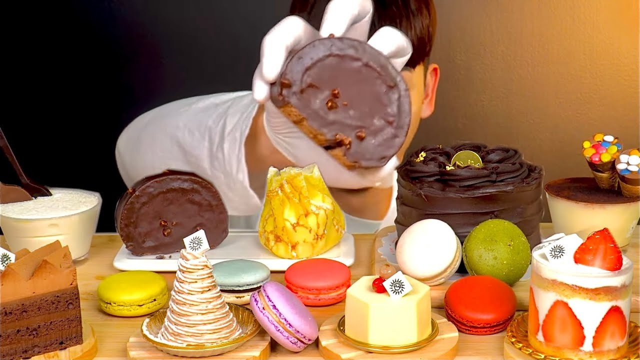 ASMR 😋봉길이가 좋아하는 초코케이크 티라미수 오색마카롱 먹방 Bong-gil's Favorite Dessert Choco Cake Tiramisu Macaron MuKbang