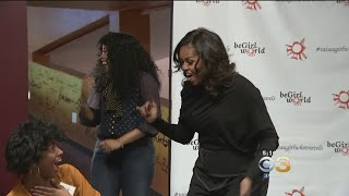 Michelle Obama Surprises High Schoolers Before Book Tour Stop At Wells Fargo