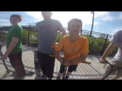 Skaters Vs. Scooter Kids Fighting Over Ramp