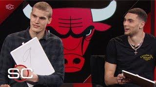 Zach LaVine and Lauri Markkanen of the Chicago Bulls join Stan Verrett on SportsCenter to grade each other's dunks from this season. LaVine and Markkanen ...