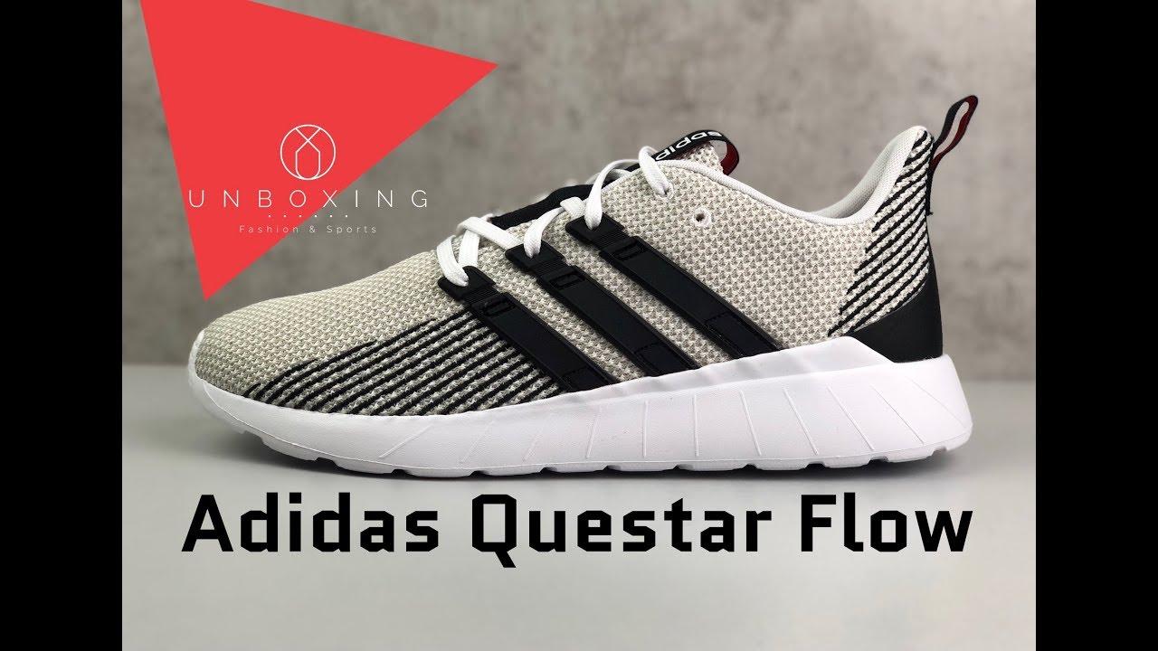 a9cc1089ea6 Adidas Questar Flow 'Ftwrwht/core black/raw white' | UNBOXING & ON FEET | fashion  shoes | 2019