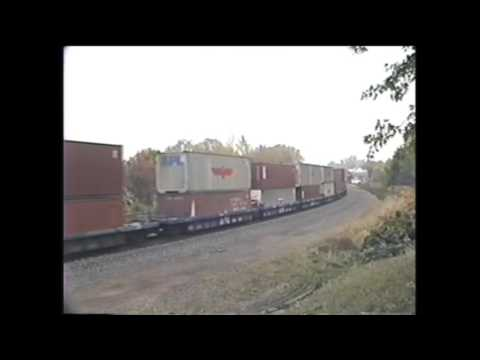 Conrail TV200 American President Lines Doublestack Container train at Richfield,NJ Autumn 1991