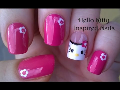 Easy Hello Kitty Nail Art Tutorial Pink Nails Design Youtube