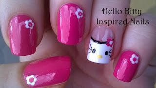 Easy HELLO KITTY Nail Art Tutorial / Pink NAILS Design