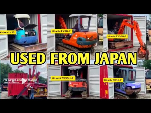 Unloading Imported Mini Excavators Used From Japan From Containers