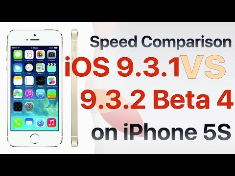 iPhone 5S iOS 9.3.1 vs iOS 9.3.2 Beta 4 / Public Beta 4 Build #13F68 Speed Comparison