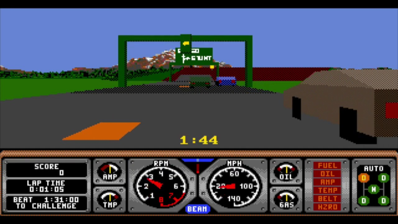 Hard Drivin' (IBM PC) - VGA Graphics - Retro PC - Stunt Track Completed 100%