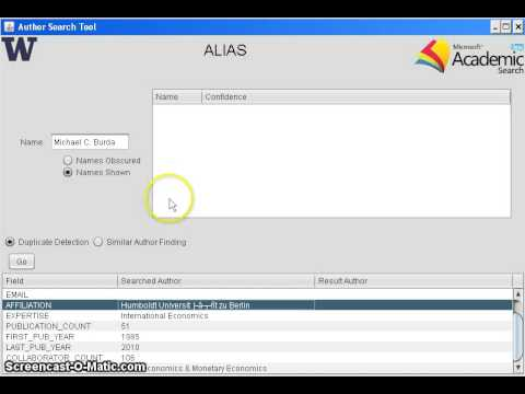 ALIAS - Identifying Duplicate authors in Microsoft Academic Search