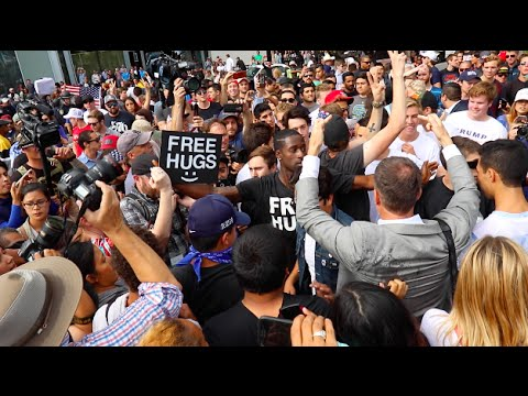 Donald Trump Rally Supporters VS Protesters Clash In San Diego Free Hugs. Fights Pepper Spray Mace