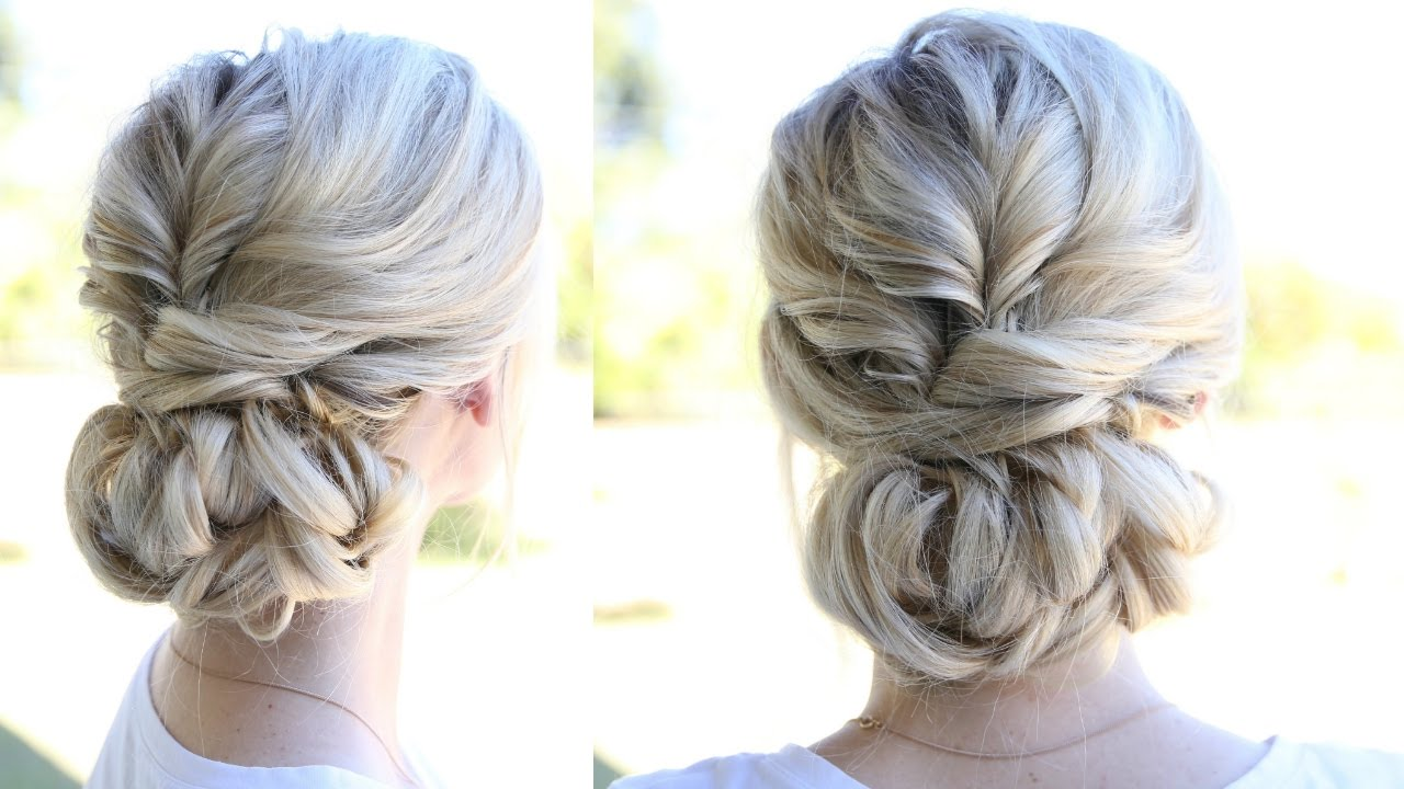 topsy tail updo and looped bun - youtube