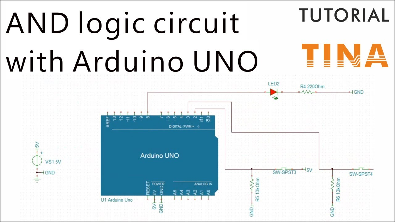 how to create an and logic circuit using the arduino uno microcontroller  [ 1280 x 720 Pixel ]