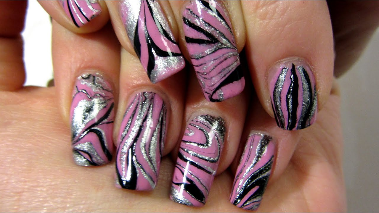 Pastel Pink Silver And Black Water Marble Design Nail Art Tutorial