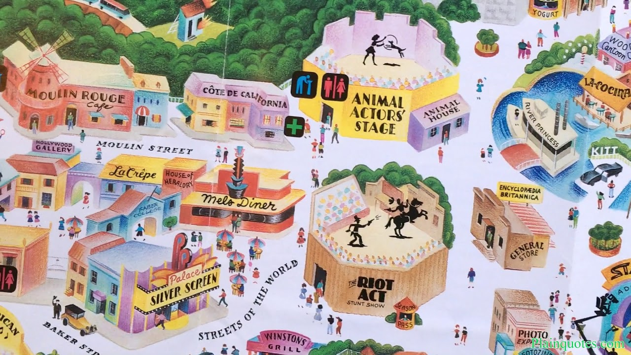 1990 Universal Studios Hollywood Theme Park Map