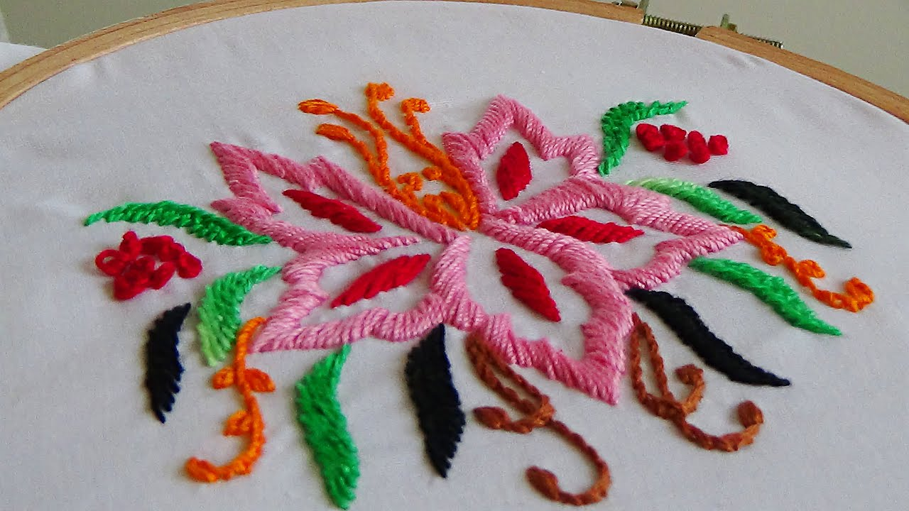 Hand embroidery d satin stitch youtube