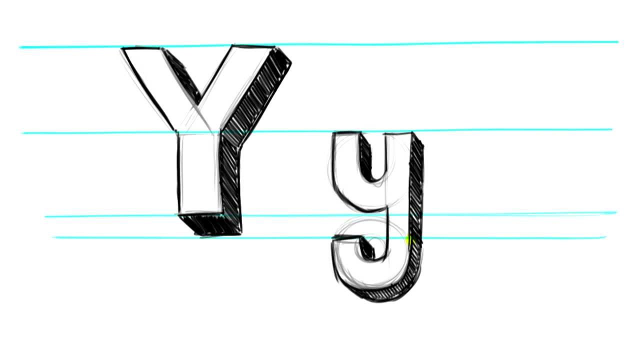How To Draw 3d Letters Y Uppercase Y And Lowercase Y In 90 Seconds