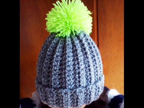 281068b1e09 Crochet easy ribbed pom pom Hat - Duration  11 02. Ani Tugushi 139