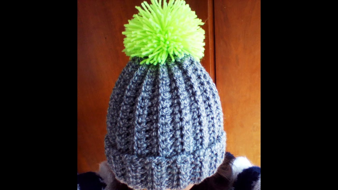 Crochet easy ribbed pom pom Hat - YouTube