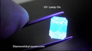 Fancy Light Yellow Emerald Cut exhibits Medium Blue Fluorescence