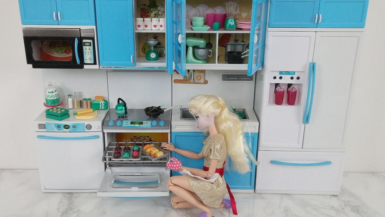 Barbie Kitchen Playset French Country Lighting Disney Princess Elsa Toy Doll Set ...