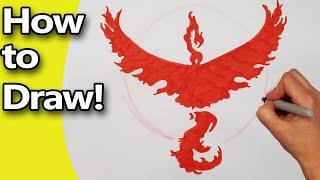 How to Draw  Pokemon Go Team Valor Faction Emblem Logo   Step by Step