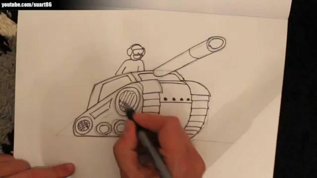 Como dibujar un tanque - YouTube