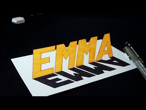Drawing 3D Popular Name - Emma   3D Letters   Easy Trick Art