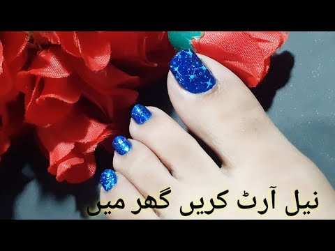 Winter Stary Night Toe Nail Art Tutorial/How to do Pedicure at home/DIY pedicure/Girly Pleasures thumbnail