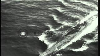 German U boats U-858 and U-805 surrender to the Americans in the Atlantic Ocean a...HD Stock Footage