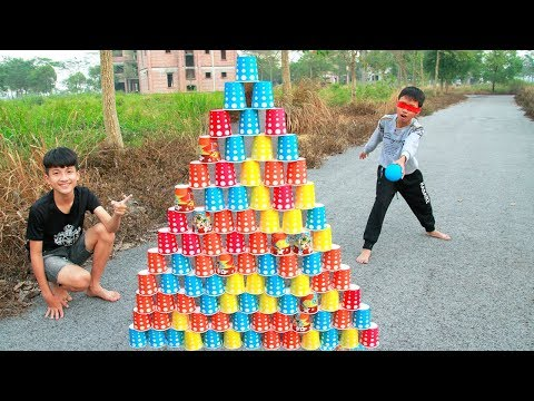 KuMin Pretend Play Builds Giant Colorful Cup Wall Pyramid | Song Nursery Rhymes for kids