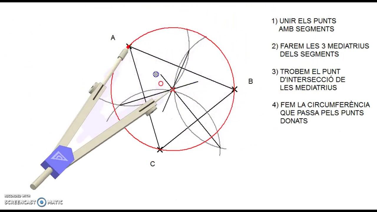 Resultado de imagen de circumferencia que passa per tres punts