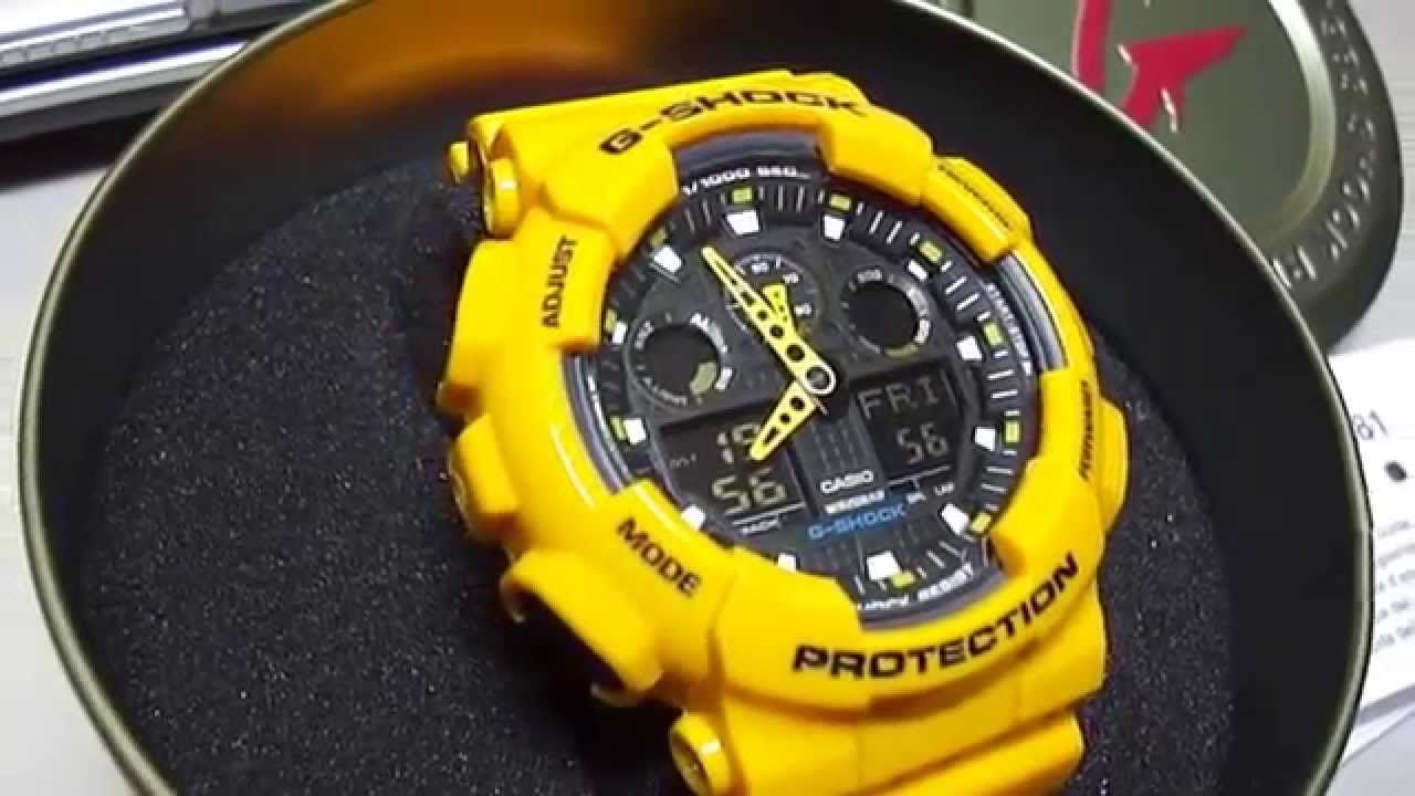 Replica g shock watches - G Shock Ga 100a 9aer New Yellow Unboxing By Thedoktor210884 Youtube