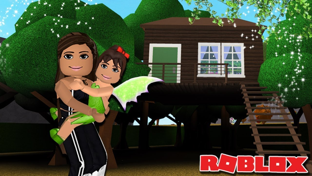Building My Daughter Olive A Treehouse Bloxburg Family Youtube