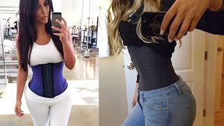 Kim Kardashian Shows Off Super Thin Waist with Trimming Corset