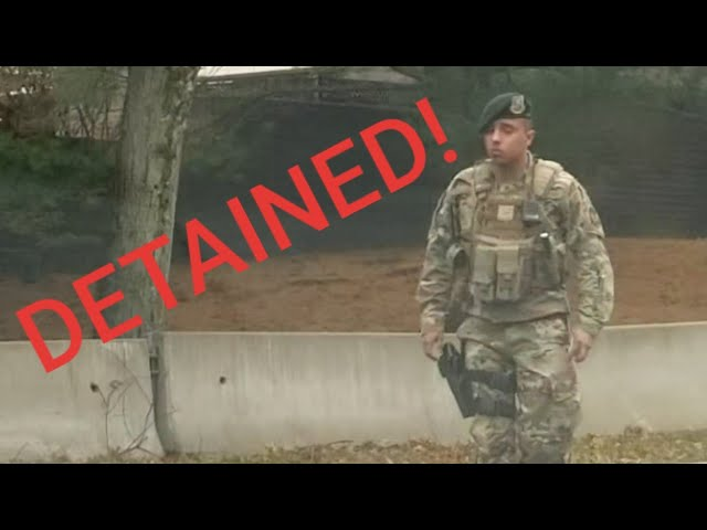 DETAINED BY MILITARY POLICE! 1ST AMENDMENT AUDIT!