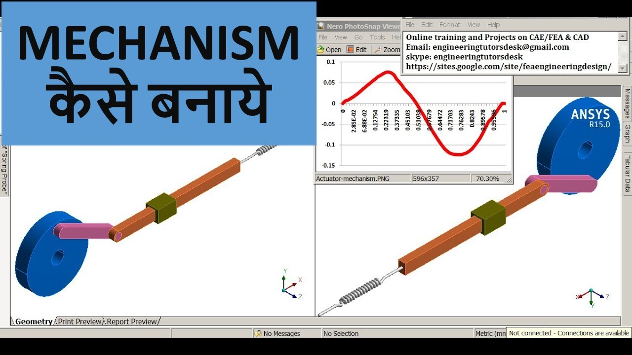 ANSYS Actuator mechanism analysis Force and Velocity | Rigid Body Dynamics  | ANSYS Workbench | GRS