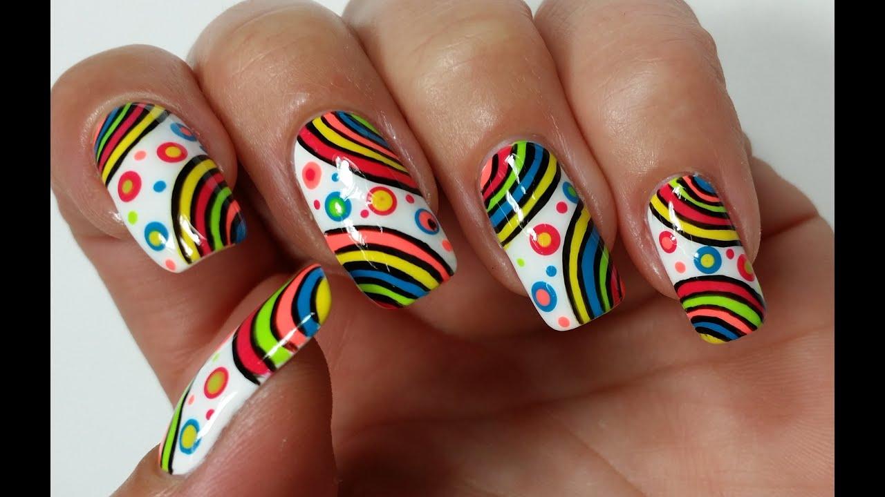 summer nail art rainbow nails