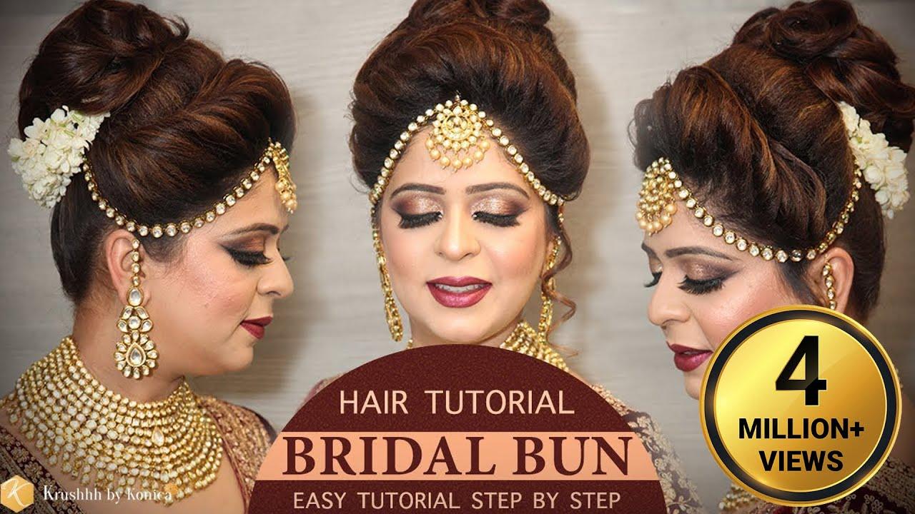 easy bridal bun hairstyle tutorial | step by step bridal hairstyle  tutorials | krushhh by konica