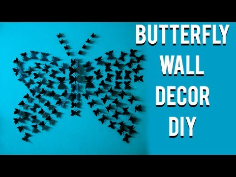 Diy paper butterfly wall decoration -easy tutorial -DIY with sayan