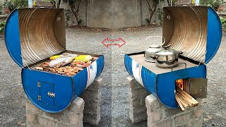 Outdoor multifunctional wood stove _ Creative ideas from cement and non iron barrels