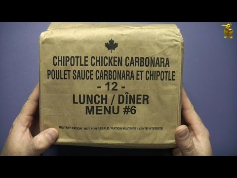MRE Review - Canadian Military IMP - Menu 6 - Chipotle Chicken Carbonara