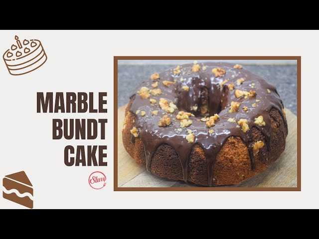 Marble Bundt Cake With Chocolate Topping & Walnuts