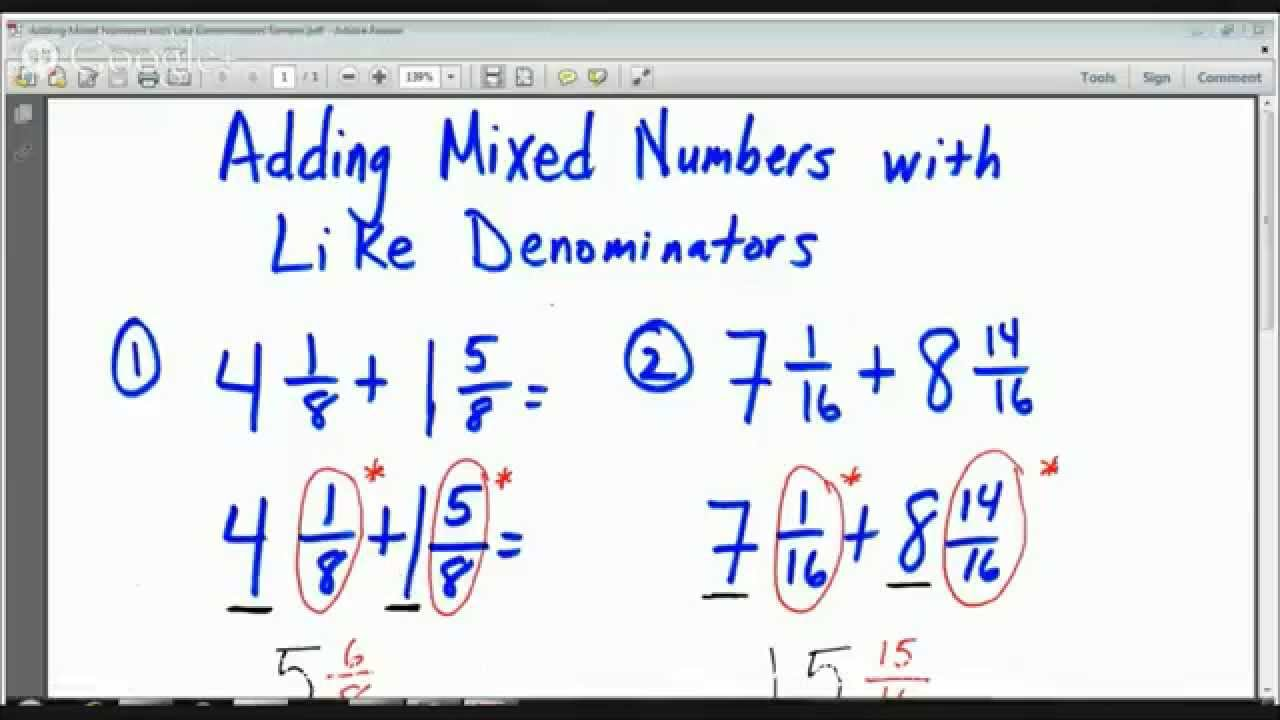 4th Grade Adding Mixed Numbers with Like Denominators Lesson – Adding Mixed Fractions with Different Denominators Worksheets