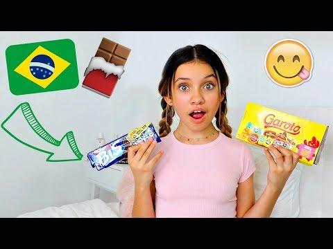 american girl tries brazilian chocolate 🍫🇧🇷 menina americana comendo chocolate brasileiro