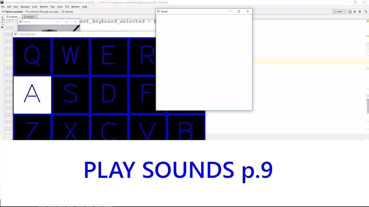 Play sounds - Gaze controlled keyboard with Python and