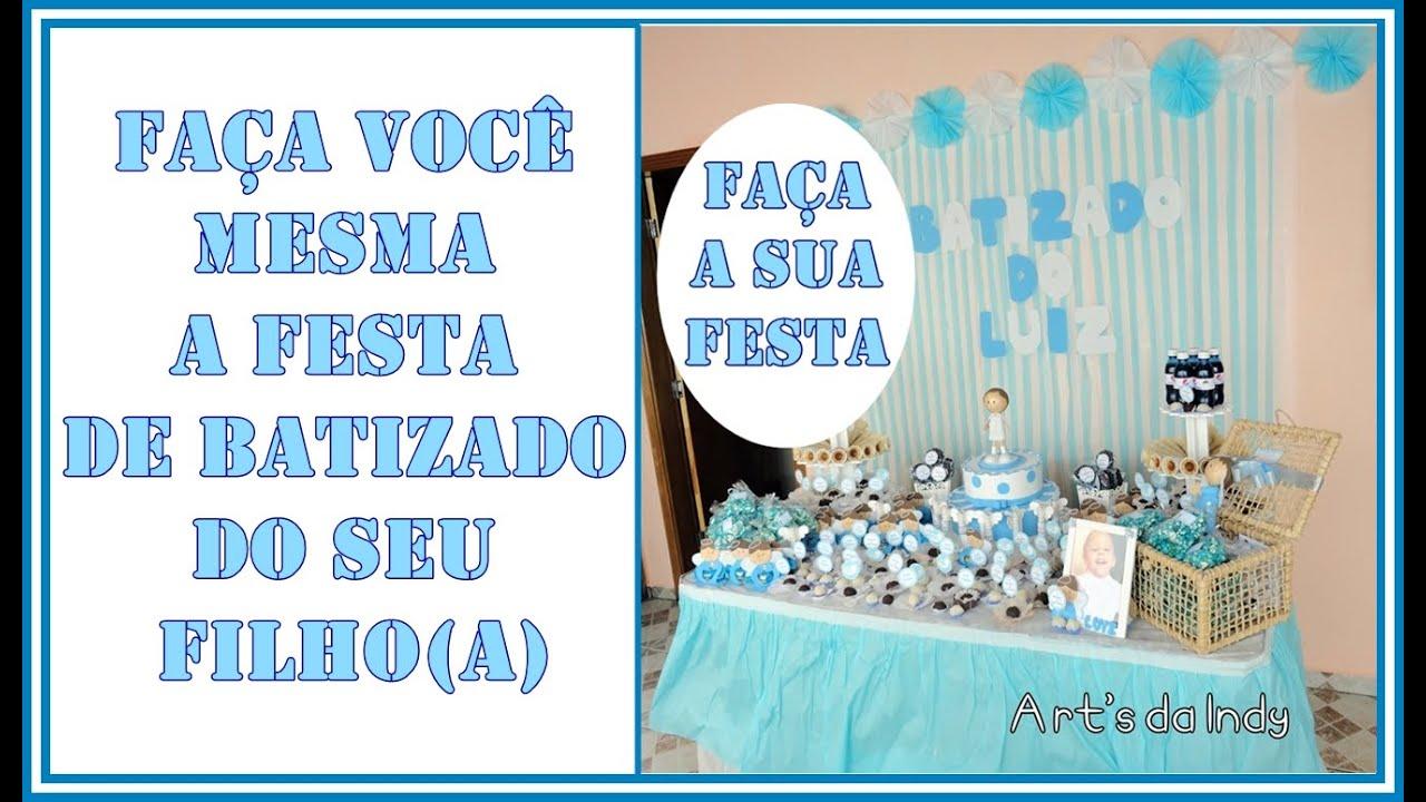 DIY Festa batizado ideias baratinhas de decoraç u00e3o YouTube -> Ideias De Enfeite De Mesa Para Batizado