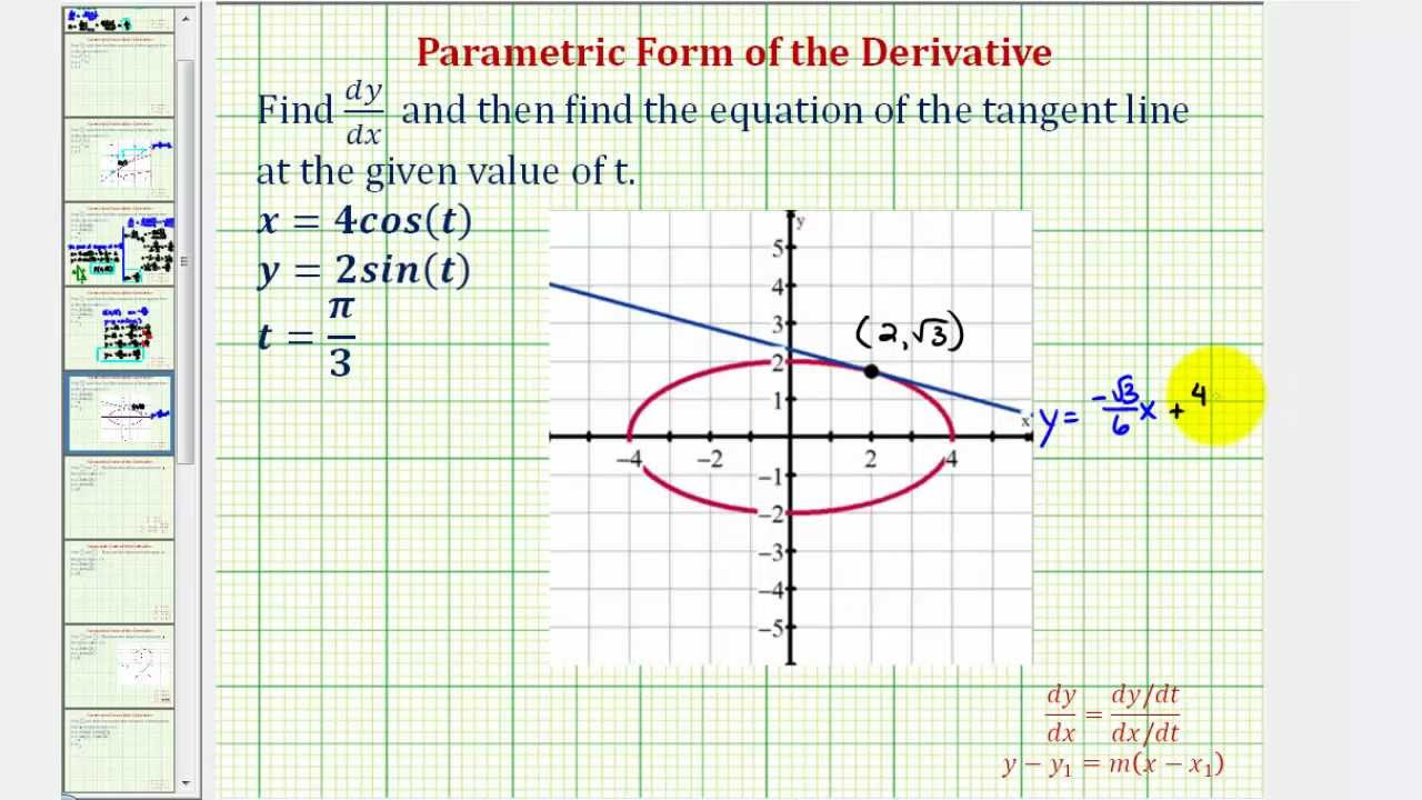 Ex 2: Equation Of A Tangent Line To A Curve Given By Parametric Equations